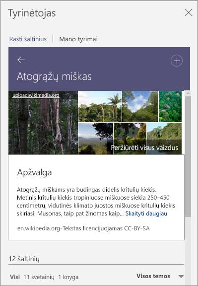 Tyrinėtojo sritis, kurioje rodomi atogrąžų miško ieškos rezultatai