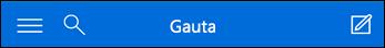 "Mini ""Outlook Web App"" viršutinė naršymo sritis"
