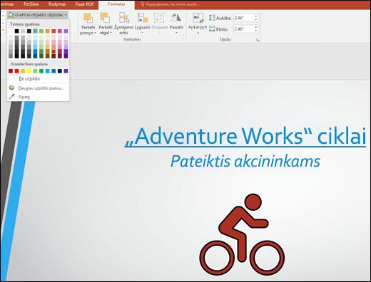 Naudokite grafinio objekto užpildo įrankį, kad pakeistumėte SVG vaizdo spalvą