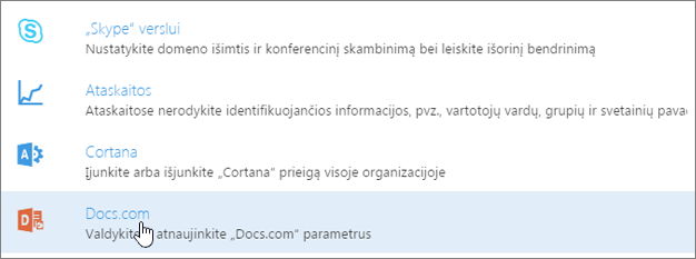 """Puslapyje Tarnybos ir papildiniai pasirinkite """"Docs.com""""."""