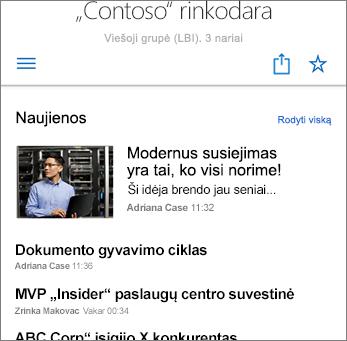 Komandos naujienos svetainės ekrano nuotraukoje