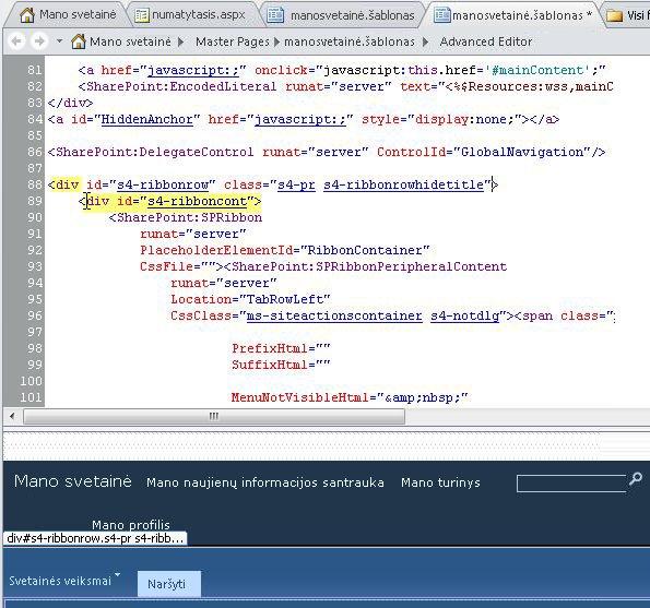 Div žymių naudojimas tinkinant Mano svetainės puslapio šabloną