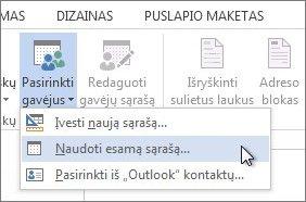 """Programos """"Word"""" skirtuko Paštas ekrano nuotrauka, kurioje rodoma komanda Pasirinkti gavėjus su pasirinkta parinktimi Naudoti esamą sąrašą."""
