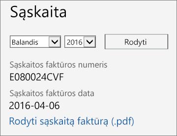 """Sąskaitos išsamios informacijos puslapio """"Office 365"""" administravimo centre sąskaitos faktūros sekcijos ekrano nuotrauka."""