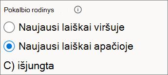 """Pokalbių rodinio perjungimas internetinėje """"Outlook"""""""