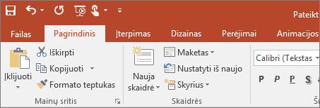 """Rodoma spalvota temos juostelė """"PowerPoint 2016"""""""