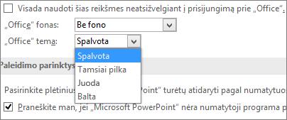 """""""PowerPoint 2016"""" rodomos """"Office"""" temos parinktys"""