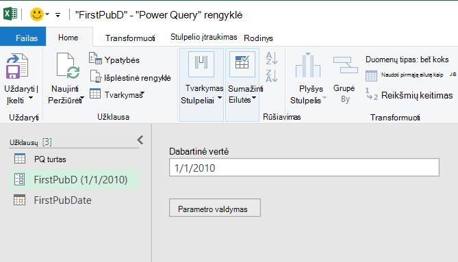 """""""Power Query"""" rengyklė, kurioje rodomas parametras"""