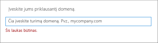 Įveskite savo domeno vardą ir spustelėkite Pirmyn