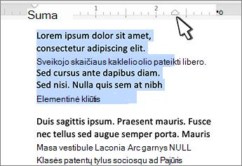 """""""Mac"""" dešiniosios įtraukos žymeklis"""