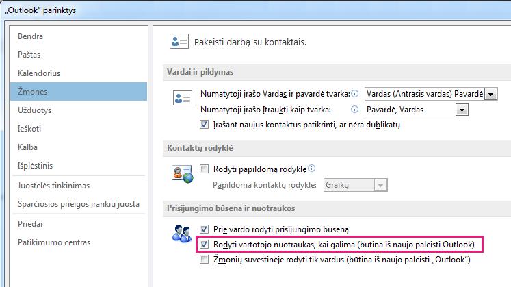 """""""Outlook"""" lango Parinktys ekrano kopija, kurioje matomas paryškintas žymės langelis Įjungti nuotraukas"""