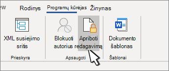 Mygtukas apriboti redagavimą