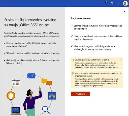 """Šiame paveikslėlyje pavaizduotas pirmąjį ekrano naują """"Office 365"""" kūrimo vedlį."""