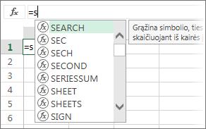 Formulės automatinio užbaigimo sąrašas