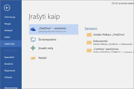 """Įrašyti kaip su """"OneDrive"""" numatytąja reikšme"""