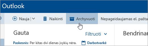 Ekrano kopija, kurioje matyti mygtukas Archyvuoti