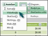 """""""PowerPivot"""" funkcija AutoSum"""