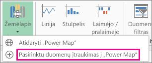"""Įtraukti pasirinktus duomenis į """"Power Map"""""""