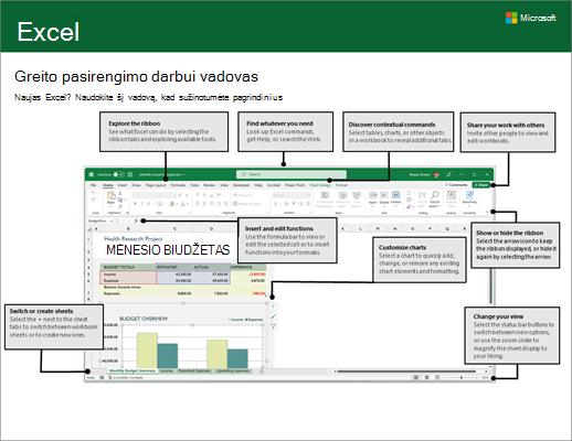 """""""Excel 2016"""" greito pasirengimo darbui vadovas (""""Windows"""")"""