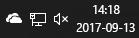 """""""OneDrive"""" piktograma informacinių pranešimų srityje."""