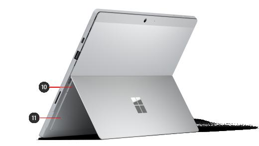 """""""Surface Pro 7 +"""" įrenginio atgal su skaičiais, nurodančiais aparatūros funkcijas."""