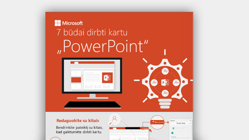 """Informacinė diagrama, kurioje matyti 7 būdai, kaip bendradarbiauti naudojant """"PowerPoint"""""""