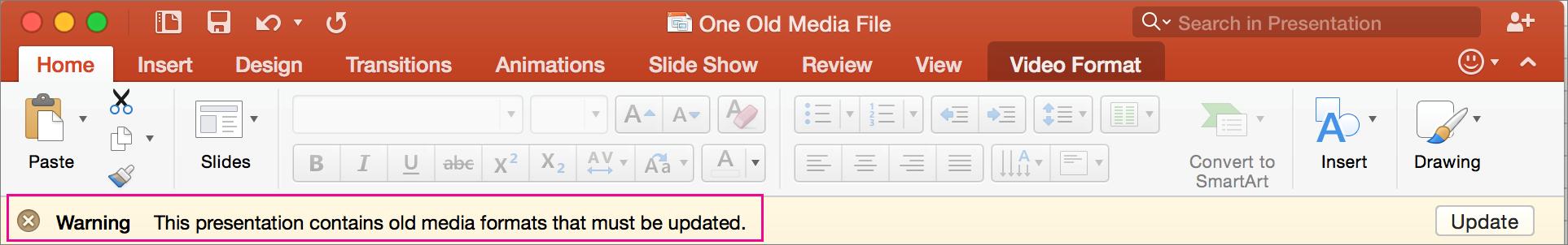 """PowerPoint 2016 for Mac"" senas medijos formatas"