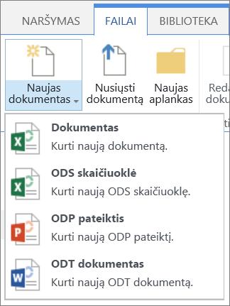 Bibliotekoje, kurioje pasirinktinius šablonus komandos naujas dokumentas
