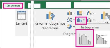 Histogramos komanda, pasiekta naudojant mygtuką Įterpti statistikos diagramą
