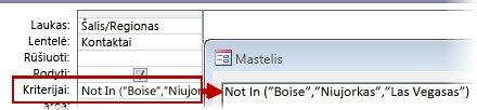 """Norėdami rodyti visus kontaktus ne iš JK, JAV ar Prancūzijos, naudokite kriterijus """"Not"""" (""""Tekstas"""", """"Tekstas"""", """"Tekstas""""…)"""