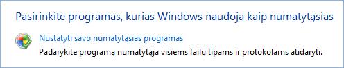 Numatytųjų programų rinkinio ekrano kopija