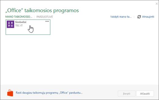 """Ekrano kopijoje parodyta mano taikomosios programos skirtuką programėlės, skirtos """"Office"""" puslapis."""
