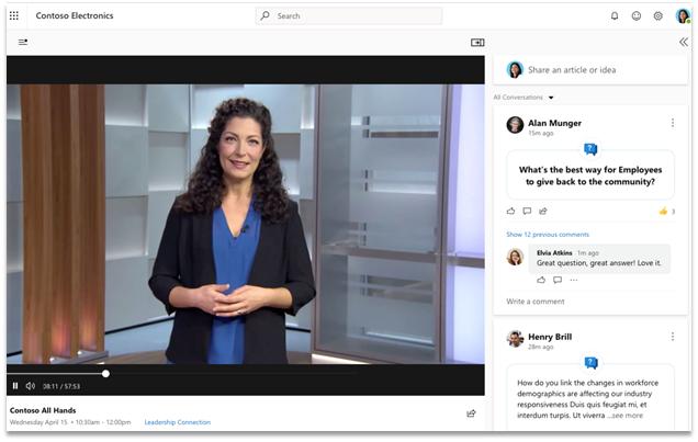 """Ekrano nuotrauka, kurioje rodoma nauja tiesioginių tiesioginių įvykių """"Yammer"""" funkcija"""