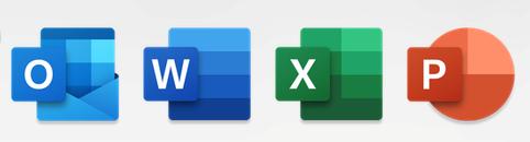 """Programų """"Outlook"""", """"Word"""", """"Excel"""" ir """"PowerPoint"""" piktogramos"""