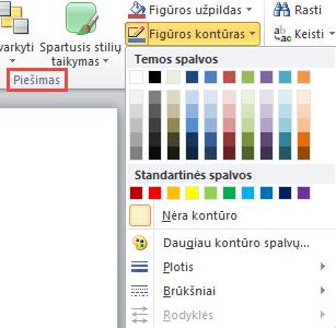 """""""PowerPoint"""" 2010 teksto lauko figūros kontūro meniu"""