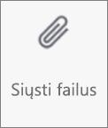 """Mygtukas Siųsti failus programėlėje """"OneDrive"""", skirtoje """"Android"""""""