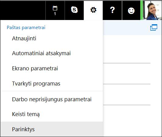 """Žiniatinklio """"Outlook"""" parametrų parinktys"""