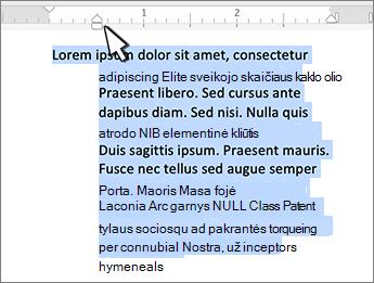"""""""Mac"""" kabinimo linijos įtraukos žymeklis"""