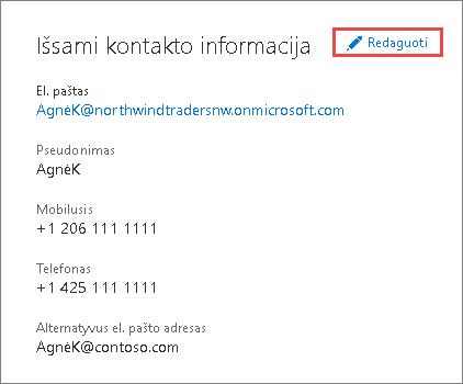 Naudokite kontaktinę informaciją, kad atnaujintumėte administratoriaus informaciją