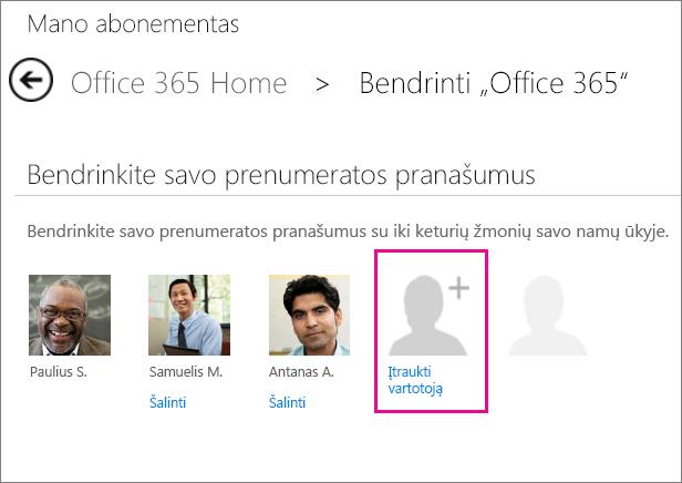 """Puslapio Bendrinti """"Office 365"""" ekrano nuotrauka su pažymėta vartotojo parinktimi Įtraukti vartotoją."""