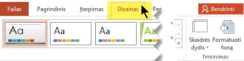Įrankių juostelėje pasirinkite skirtuką Dizainas. Meniu mygtukas Skaidrių dydis dešiniajame krašte yra skaidrės padėties valdiklis.