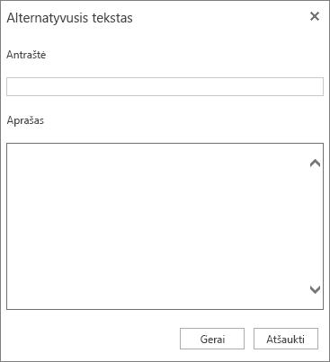 Alternatyviojo teksto dialogo lango su Pavadinimo ir Aprašo laukais ekrano nuotrauka.