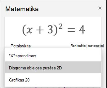 Grafiko parinktys srityje matematinė diagrama