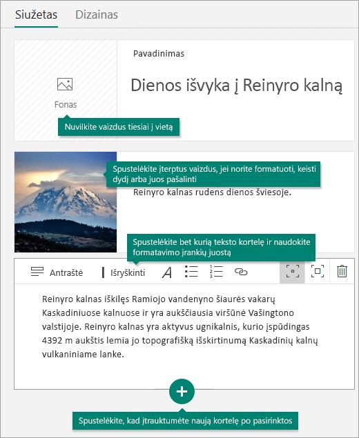 Vaizdų ir teksto įtraukimas į siužetą