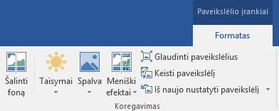 """Mygtukas Šalinti foną, pavaizduotas """"Office 2016"""" juostelės skirtuko Formatuoti dalyje Paveikslėlio įrankiai"""