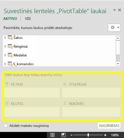 """PivotTable"" laukų sritys"
