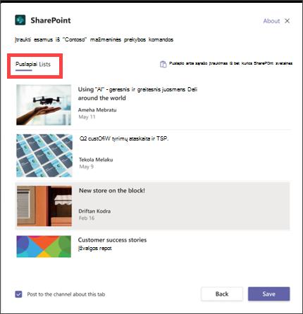 """""""SharePoint"""" skirtuko modalusis langas programoje """"teams"""", kurioje paryškinami puslapio ir sąrašo parinktys"""