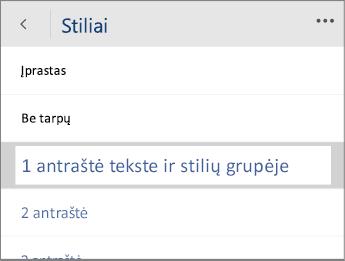 """""""Word Mobile"""" Stilių meniu ekrano nuotrauka, pasirinkta 1 antraštės parinktis."""