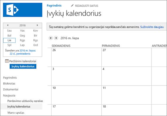 Kalendoriaus sąrašo programėlę, pavyzdys.