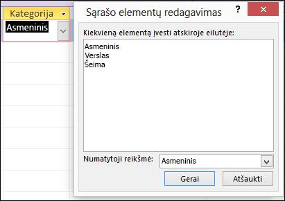 """Pakeiskite """"Access"""" formos dialogo lango Redaguoti sąrašą parinktis"""